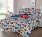 Race Cars Full or Twin Kids Comforter Bedding Set With Plush