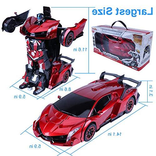 RC Car Demo Control Car Robot Kids,Induction & One Key Deformation,14''X6'' Lights & Exciting Stunt Car Girls