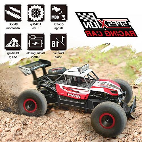 RC Car, 2.4 Remote Car 1/16 Scale Off Road Batteries, for Kids