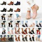 US Women Low Heel Block Ankle Boots Ladies Slip On Chunky Ca