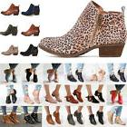 Women's Chunky Booties Low Block Heels Ankle Boots Shoes Cas