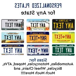 Customized License Plate Tag Personalized for Any State Auto