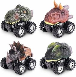 Pull Back Dinosaur Toys 4-pack for 2 3 4 5 Year Old Boys and