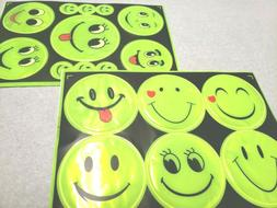Reflective Stickers Smiley faces for car, bicycle, stroller,