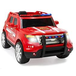 Best Choice Products 12V Kids Firetruck RC Remote Ride-On SU