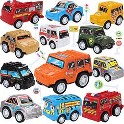 Toy Cars With Road Signs,12 Pieces Pull Back Unique Vehicles