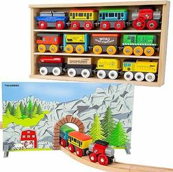 Train Toys Wooden Cars For Kids Trains Set Compatible Thomas