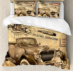 Ambesonne Vintage Decor Duvet Cover Set, Nostalgic Car Figur