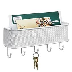 mDesign Wall Mount Mail/Letter Holder and Key Rack Organizer