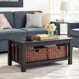 """WE Furniture 40"""" Wood Storage Coffee Table with Totes - Espr"""