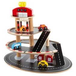 Wooden Car Service Station 4 Vehicles 3 Levels Pretend Play