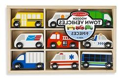 Melissa & Doug Wooden Town Vehicles Set in Wooden Tray 9 pcs
