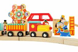 Wooden Train Set Toy Magnetic Trains Cars & Accessories for