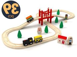 wooden train tracks set for kids toddler